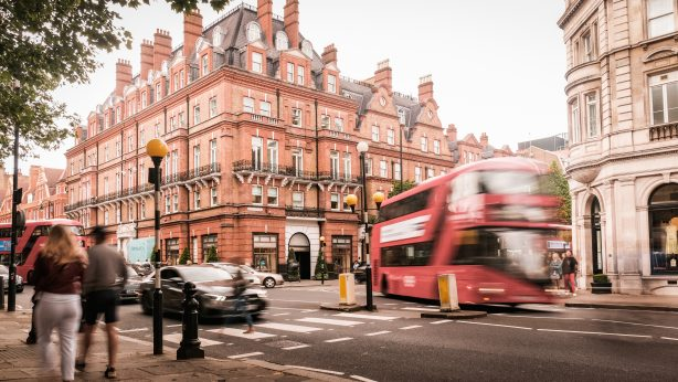 Motion blurred view of Sloane Square, an upmarket area of Chelsea / Knightsbridge.